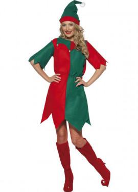 Disfraz de Elfo Verde y Rojo de Mujer para Navidad