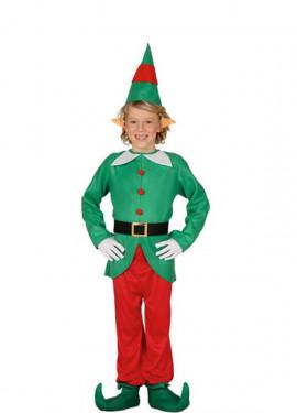 Disfraz de Elfo verde y rojo para niño