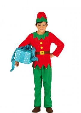 Disfraz de Elfo verde y rojo para niños