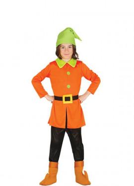 Disfraz de Enanito naranja y verde para niños