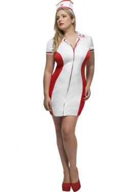 Disfraz de Enfermera Vintage con cremallera para mujer