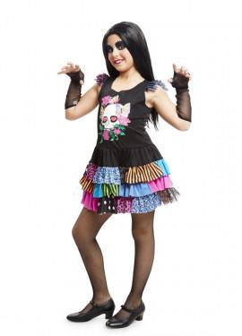 Disfraz de Esqueleto Catrina colorido para niña