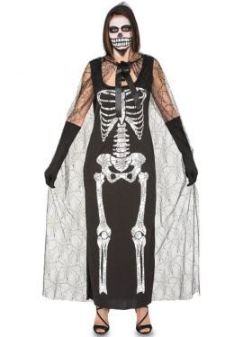 Disfraz de Esqueleto con capa para mujer