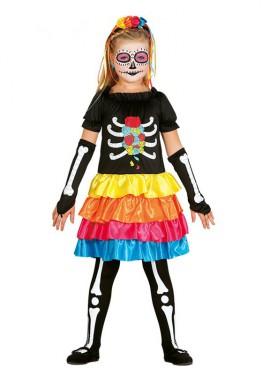Disfraz de Esqueleto Mejicano para niña