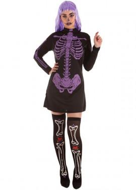 Disfraz de Esqueleto Morada para mujer