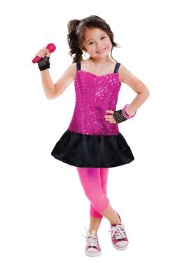 Disfraz de estrella del rock para niñas de 3 a 6 años
