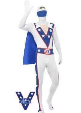 Disfraz de Evel Knievel Blanco Segunda piel para hombre