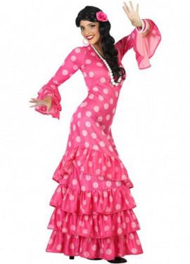 Déguisement Sévillane - Flamenco Rose pois rose