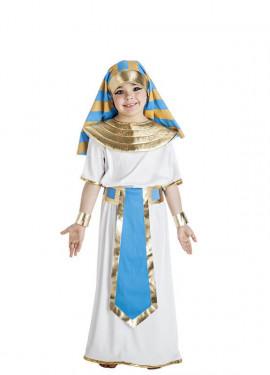Disfraz de Faraón Egipcio blanco y azul para niño
