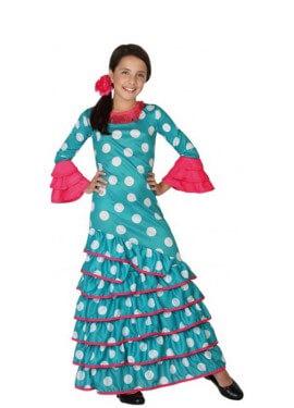 Disfraz de Flamenca azul con lunares para niña