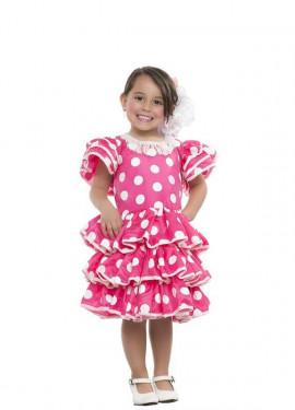 Disfraz de Flamenca fucsia con lunares para niña