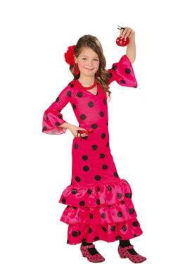 Disfraz de Flamenca fucsia para niñas