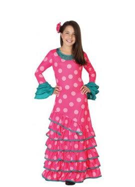 Disfraz de Flamenca rosa con lunares para niña