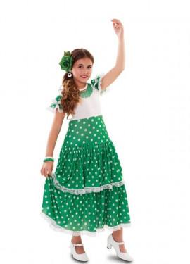 Disfraz de Flamenca verde para niña