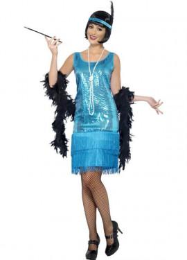 Disfraz de Flapper años 20 Azul para mujer