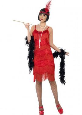 Disfraz de Flapper Locos años 20 Rojo para Mujer
