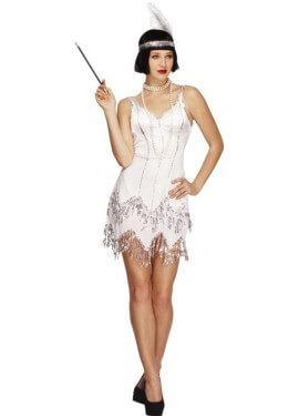 Disfraz de Flapper Sexy blanco para mujer