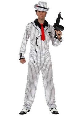 Disfraz de Gánster blanco a rayas hombre talla M-L
