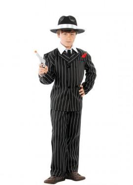 Disfraz de Gánster negro con rayas para niño