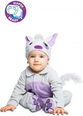 Disfraz de Gatito gris malva para bebé