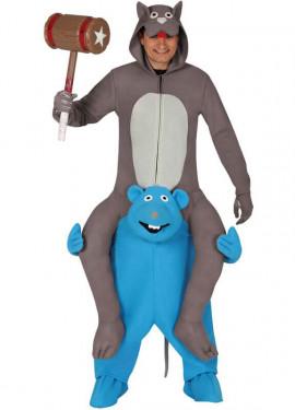 Disfraz de Gato a hombros de Ratón azul para adultos