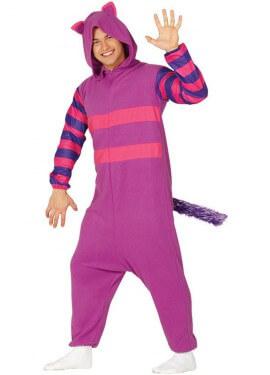 Costume da gatto lilla con coda per adulto