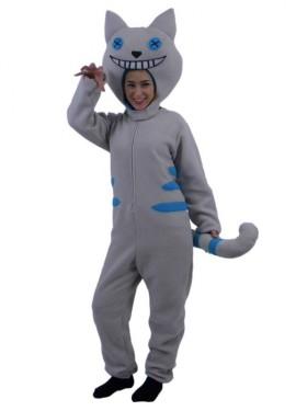 Disfraz de Gato Sonrisa gris y azul para adultos