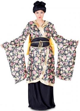 Disfraz de Geisha con flores para mujer