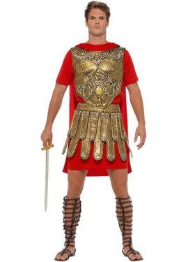 Disfraz de Gladiador Romano Dorado y Rojo para hombre