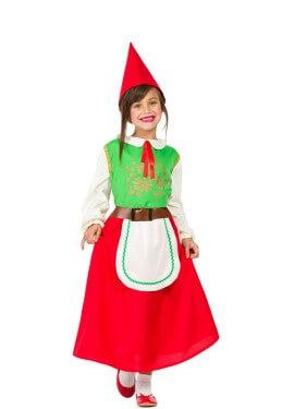 Disfraz de Gnomo verde y rojo para niña