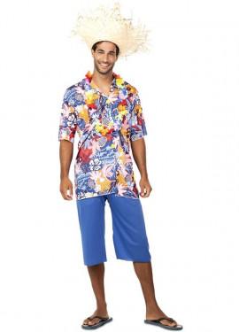 1afb36978 Disfraz de Hawaiano Azul para hombre