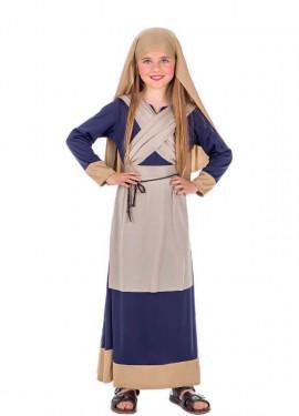 Disfraz de Hebrea Marrón y Azul para niña