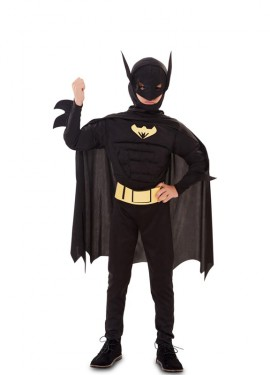 Disfraz de Héroe Murciélago musculoso para niño
