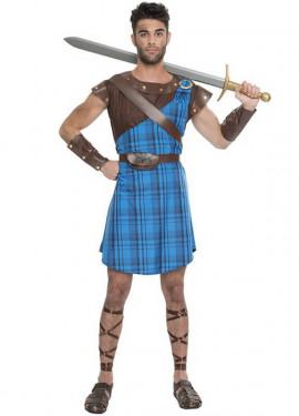 Disfraz de Highlander Escocés Azul para hombre