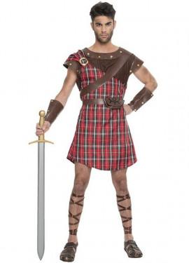 Disfraz de Highlander Escocés Rojo para hombre