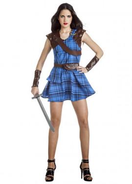 Disfraz de Highlander Escocesa Azul para mujer