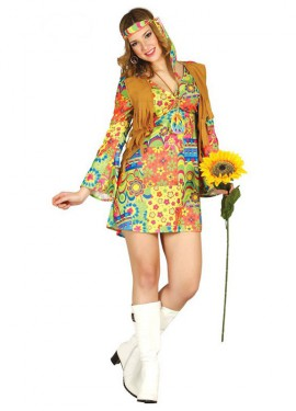 Disfraz de Hippie chaleco para mujer