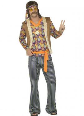 Disfraz de Hippie Floreado Años 60 para hombre
