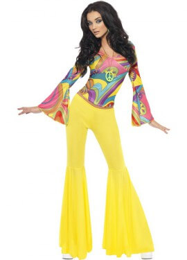 Disfraz de Hippie Guay de los 70 para mujer