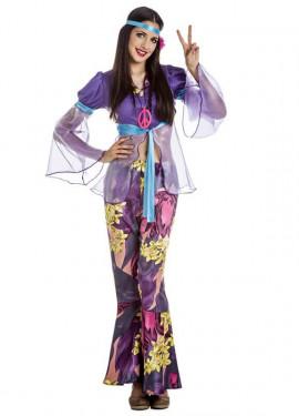 Disfraz de Hippie Morada para mujer