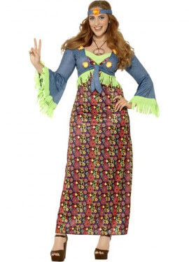 Donna 60s Hippy Con Frange Top Costume Fiore Rosa Giallo da Donna