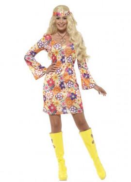 Disfraz de Hippy Floreado Multicolor para mujer