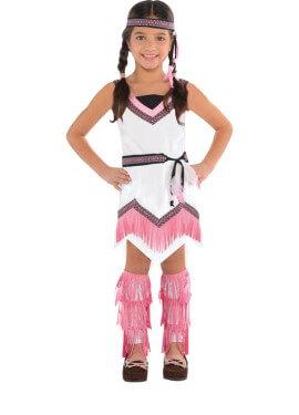Disfraz de India blanco y rosa para niñas