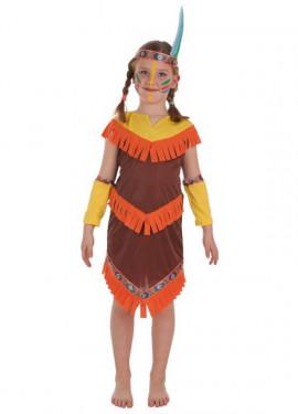Disfraz de India con Flecos para niña