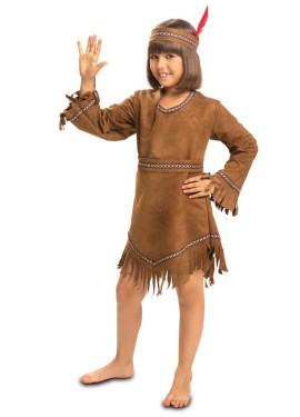 Disfraz de India marrón con flecos para niña