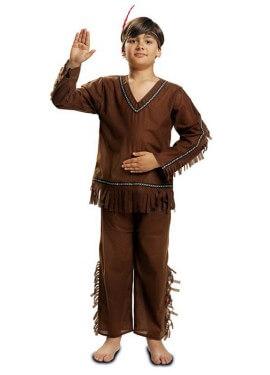 Costume indiano marrone con frange per ragazzo