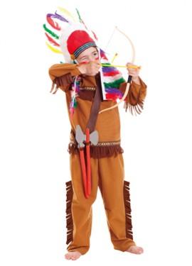 Disfraz de indio nativo americano para niños de 3 a 6 años