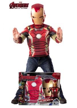 Disfraz de Iron Man musculoso con máscara en Caja para niño