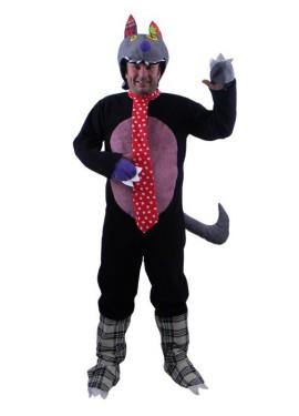 Disfraz de lobo de trapo con corbata para adultos