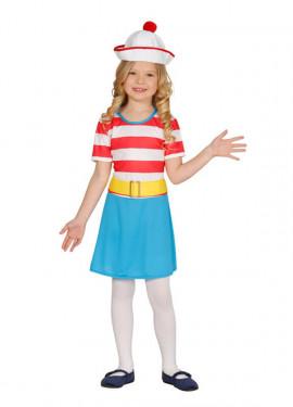 Disfraz de Excursionista a rayas para niña